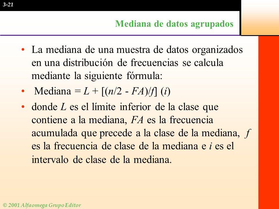 © 2001 Alfaomega Grupo Editor Mediana de datos agrupados La mediana de una muestra de datos organizados en una distribución de frecuencias se calcula