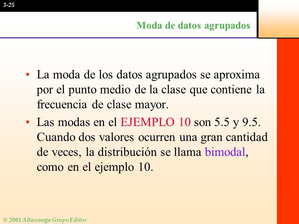 © 2001 Alfaomega Grupo Editor Moda de datos agrupados La moda de los datos agrupados se aproxima por el punto medio de la clase que contiene la frecue