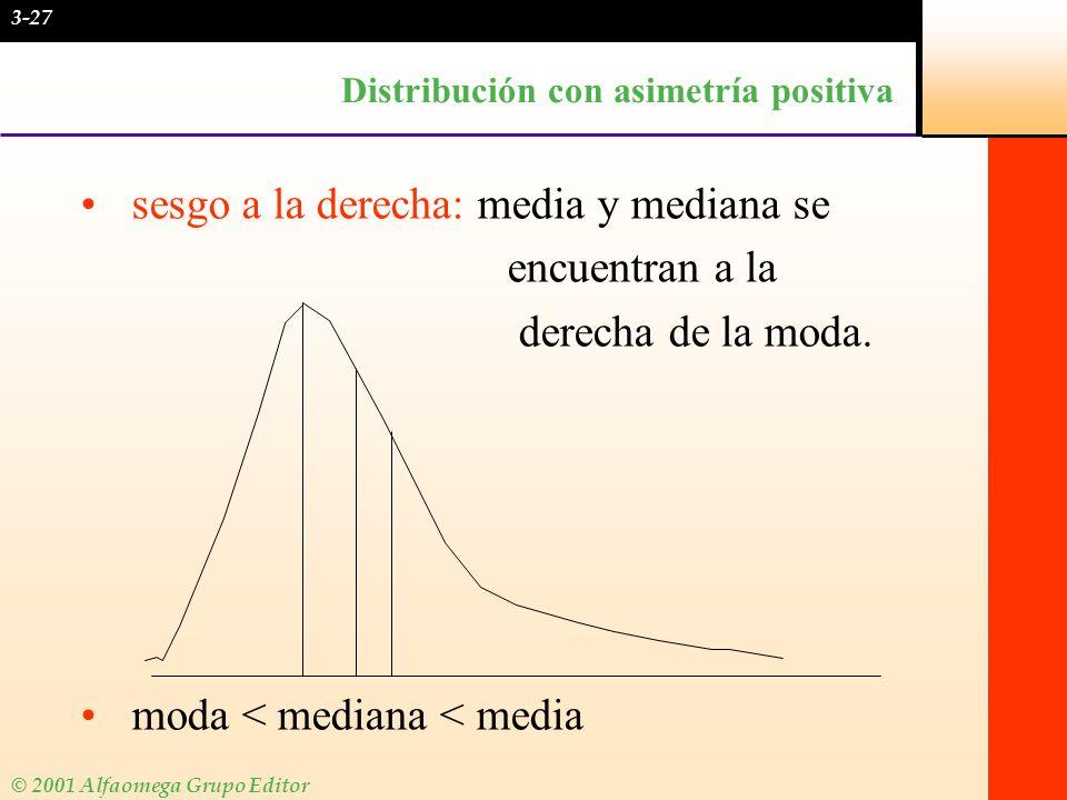 © 2001 Alfaomega Grupo Editor Distribución con asimetría positiva sesgo a la derecha: media y mediana se encuentran a la derecha de la moda. moda < me