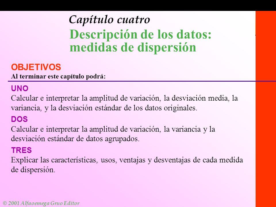 © 2001 Alfaomega Grupo Editor Medidas de dispersión: datos no agrupados Para datos no agrupados, la amplitud es la diferencia entre los valores mayor y menor en un conjunto de datos.