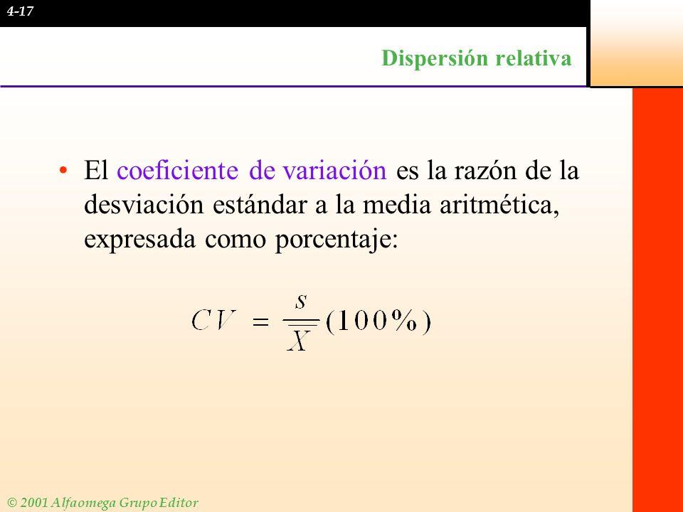 © 2001 Alfaomega Grupo Editor Dispersión relativa El coeficiente de variación es la razón de la desviación estándar a la media aritmética, expresada c