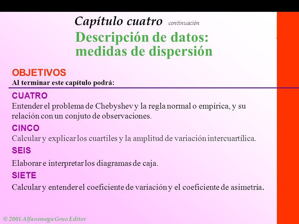 © 2001 Alfaomega Grupo Editor 1-1 Capítulo cuatro continuación Descripción de datos: medidas de dispersión OBJETIVOS Al terminar este capítulo podrá: