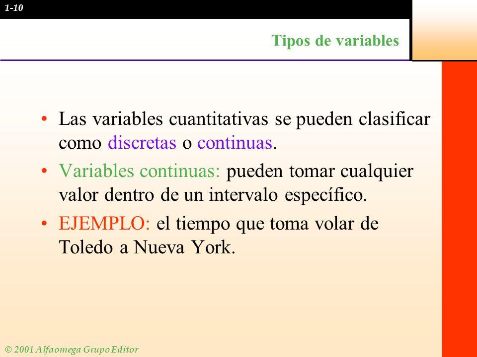 © 2001 Alfaomega Grupo Editor Tipos de variables Las variables cuantitativas se pueden clasificar como discretas o continuas. Variables continuas: pue