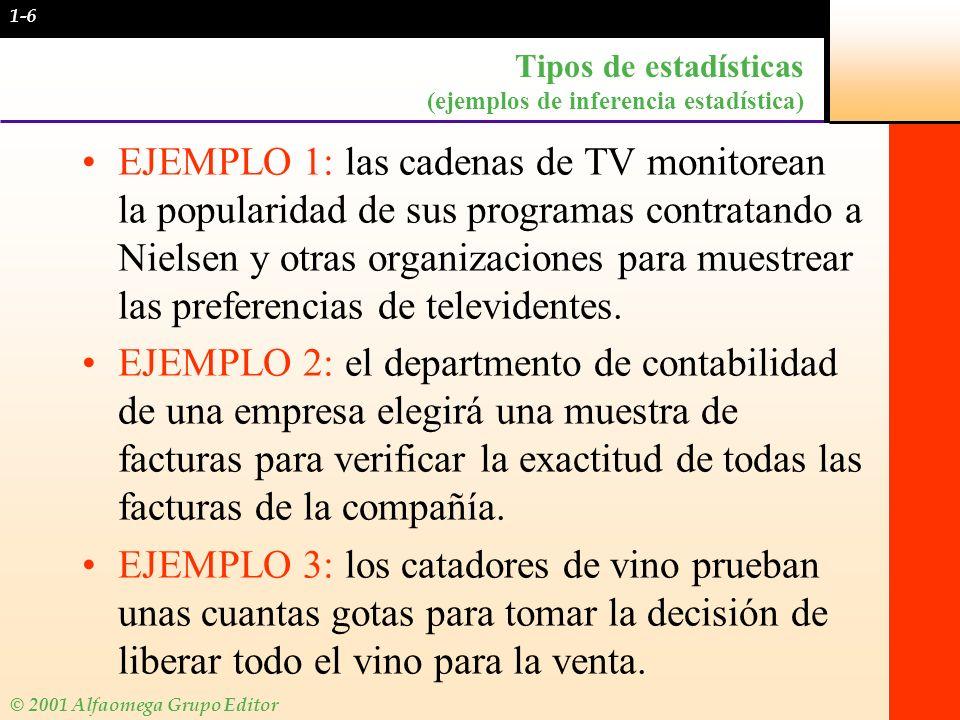 © 2001 Alfaomega Grupo Editor Tipos de estadísticas (ejemplos de inferencia estadística) EJEMPLO 1: las cadenas de TV monitorean la popularidad de sus