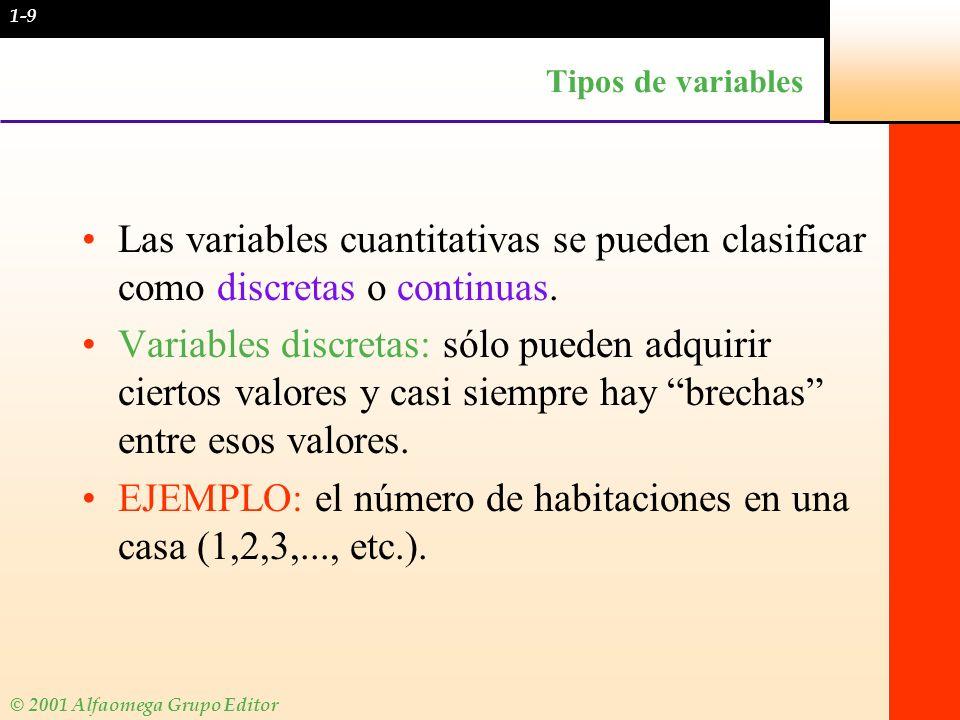 © 2001 Alfaomega Grupo Editor Tipos de variables Las variables cuantitativas se pueden clasificar como discretas o continuas. Variables discretas: sól