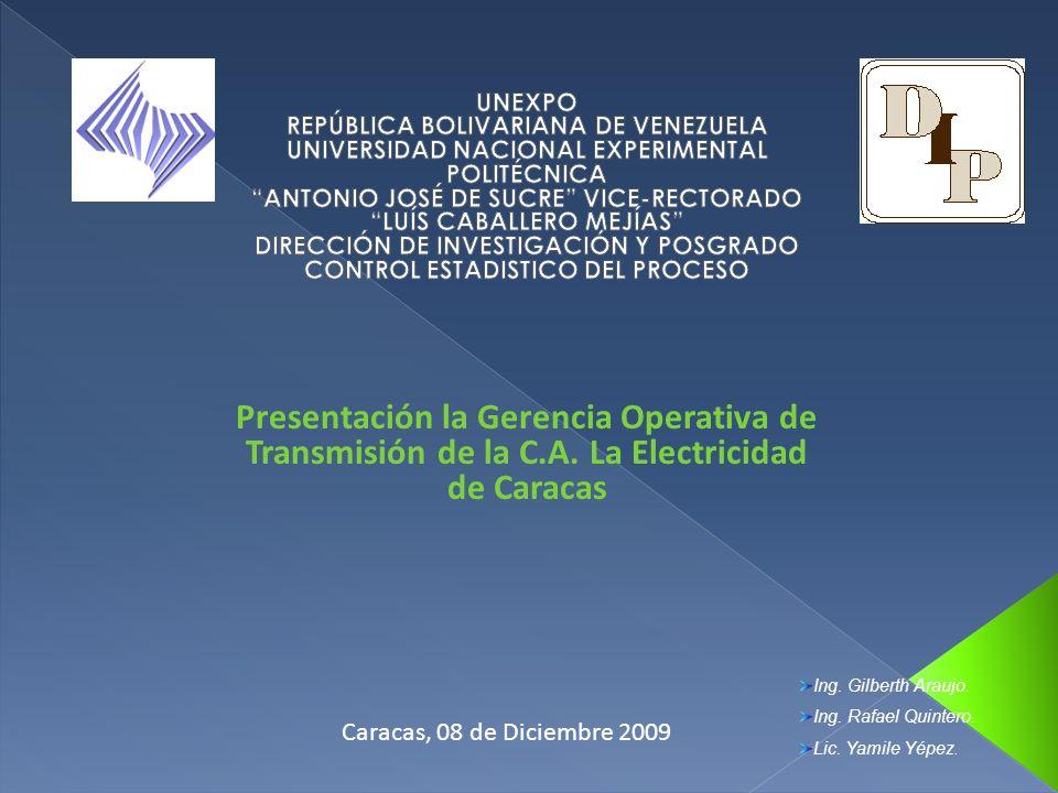 Presentación la Gerencia Operativa de Transmisión de la C.A. La Electricidad de Caracas Caracas, 08 de Diciembre 2009 Ing. Gilberth Araujo. Ing. Rafae