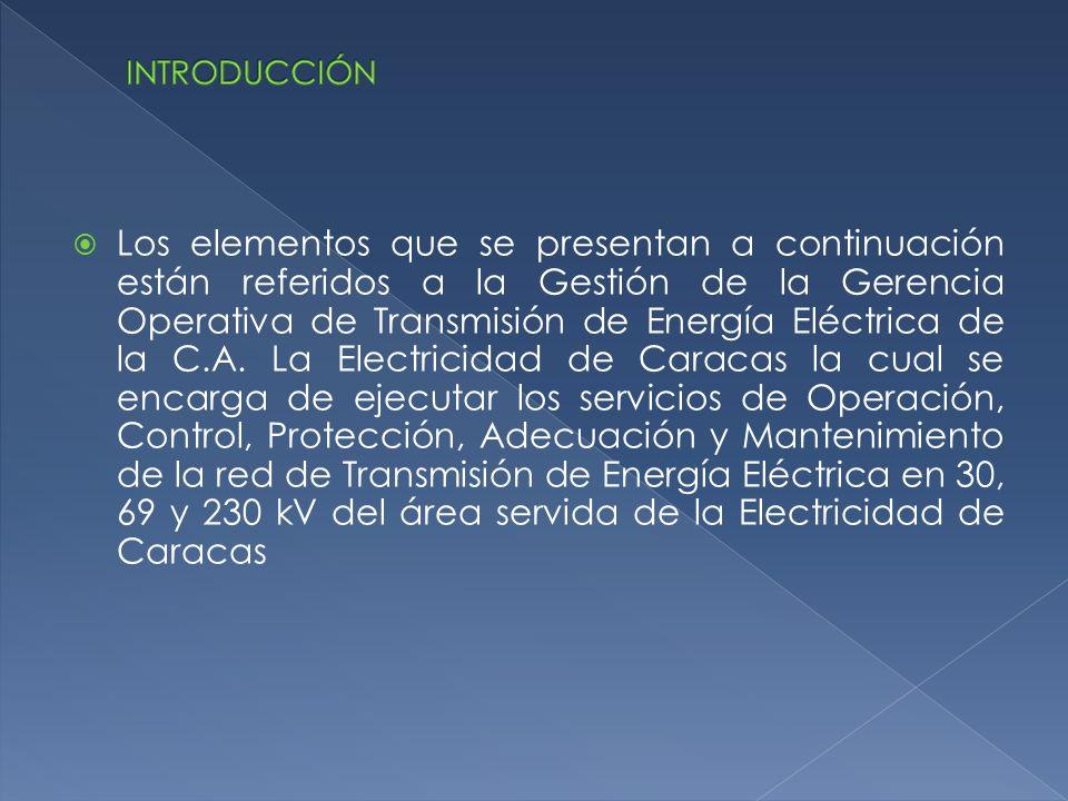 Los elementos que se presentan a continuación están referidos a la Gestión de la Gerencia Operativa de Transmisión de Energía Eléctrica de la C.A. La