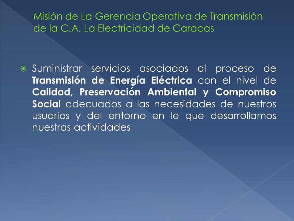 Suministrar servicios asociados al proceso de Transmisión de Energía Eléctrica con el nivel de Calidad, Preservación Ambiental y Compromiso Social ade