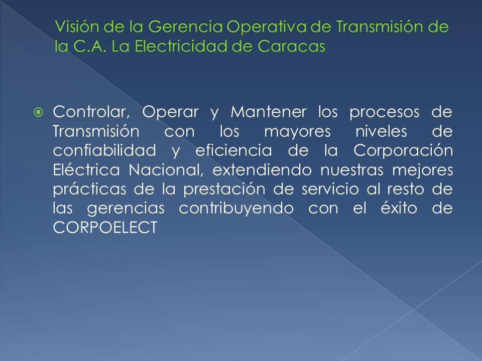 Controlar, Operar y Mantener los procesos de Transmisión con los mayores niveles de confiabilidad y eficiencia de la Corporación Eléctrica Nacional, e