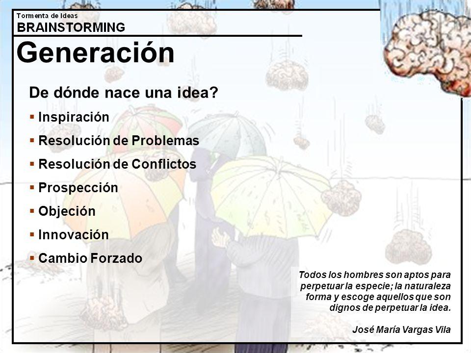 Generación De dónde nace una idea? Inspiración Resolución de Problemas Resolución de Conflictos Prospección Objeción Innovación Cambio Forzado Todos l