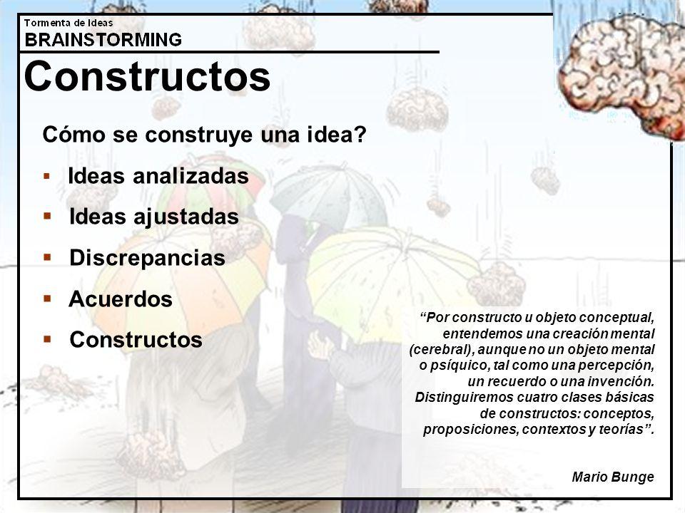 Constructos Cómo se construye una idea? Ideas analizadas Ideas ajustadas Discrepancias Acuerdos Constructos Por constructo u objeto conceptual, entend