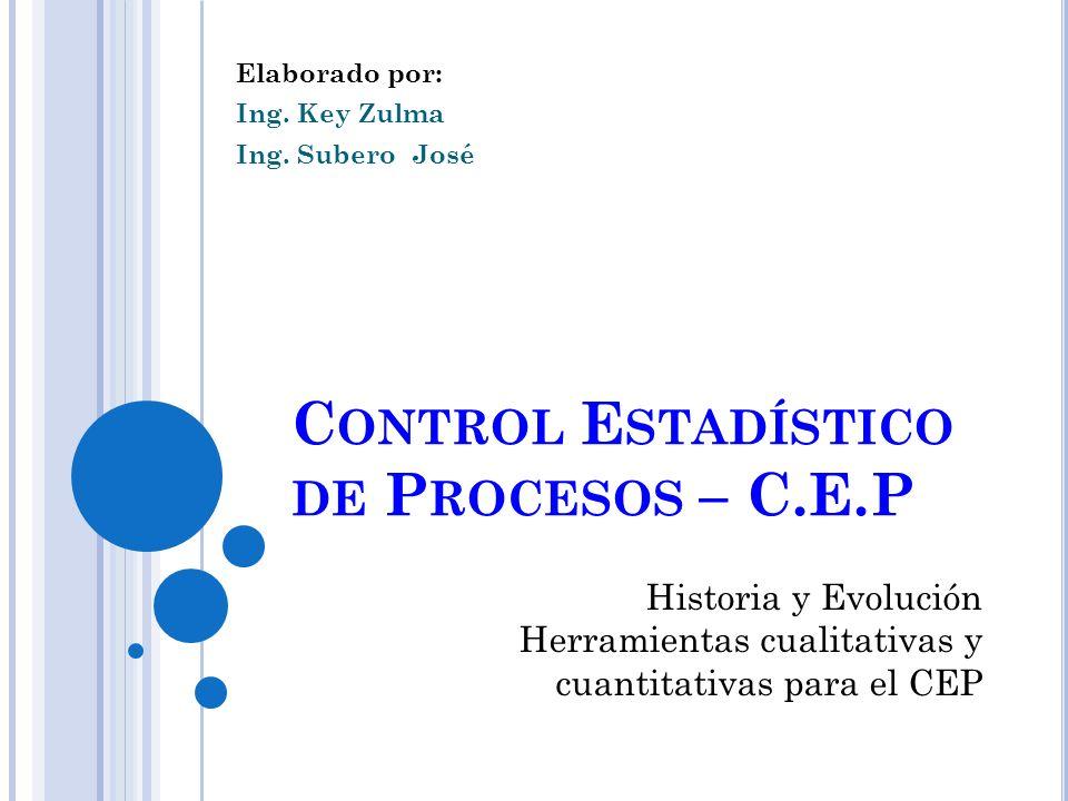 C ONTROL E STADÍSTICO DE P ROCESOS – C.E.P Elaborado por: Ing. Key Zulma Ing. Subero José Historia y Evolución Herramientas cualitativas y cuantitativ