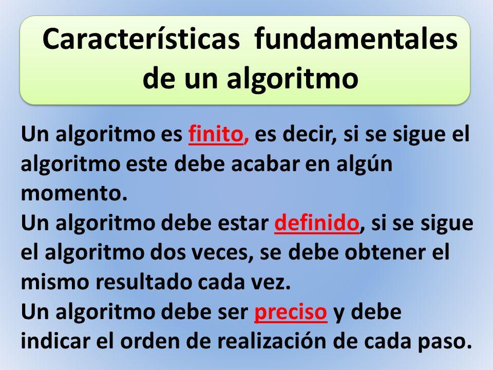 Un algoritmo es finito, es decir, si se sigue el algoritmo este debe acabar en algún momento. Un algoritmo debe estar definido, si se sigue el algorit