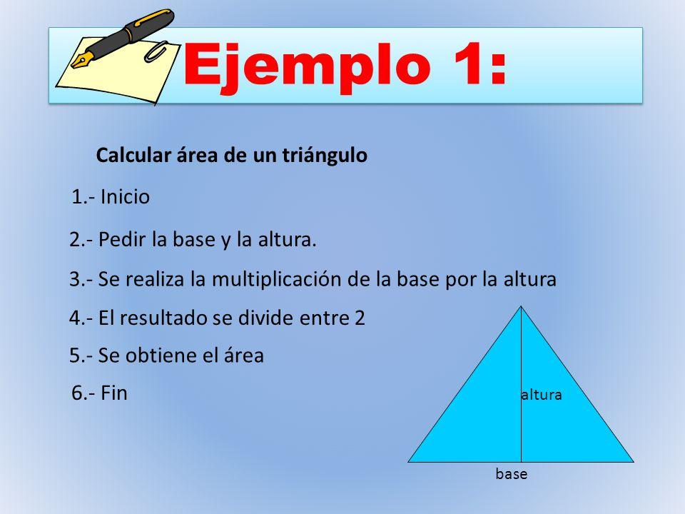 Ejemplo 1: Calcular área de un triángulo 1.- Inicio 2.- Pedir la base y la altura. 3.- Se realiza la multiplicación de la base por la altura 4.- El re