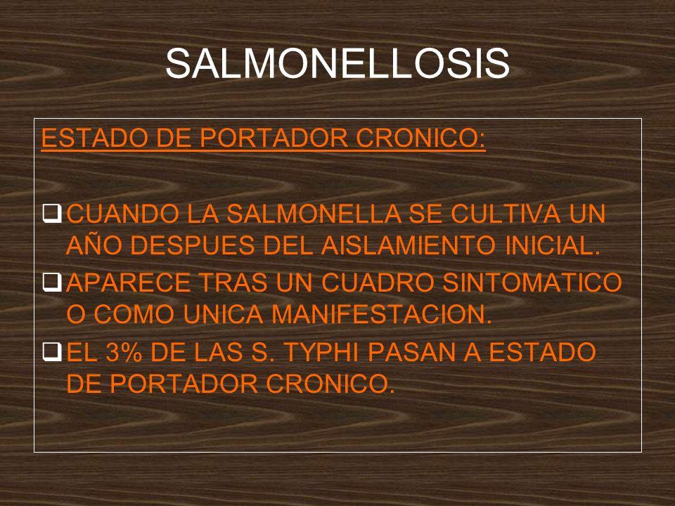 SALMONELLOSIS ESTADO DE PORTADOR CRONICO: CUANDO LA SALMONELLA SE CULTIVA UN AÑO DESPUES DEL AISLAMIENTO INICIAL.