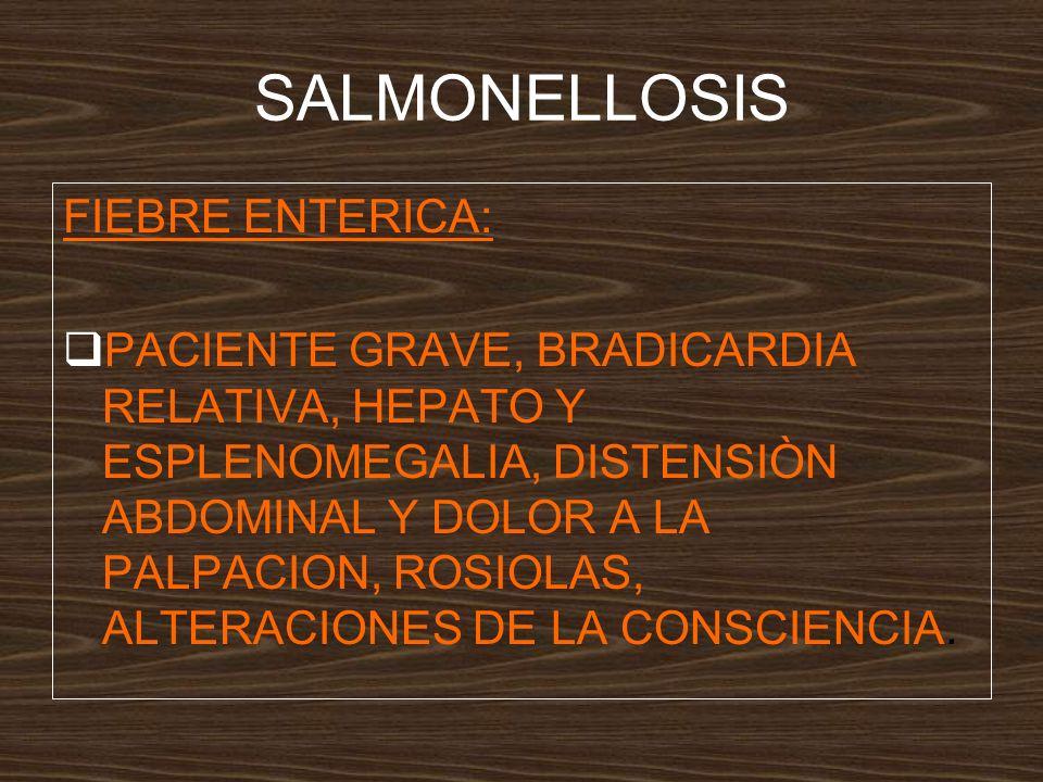 SALMONELLOSIS FIEBRE ENTERICA: PACIENTE GRAVE, BRADICARDIA RELATIVA, HEPATO Y ESPLENOMEGALIA, DISTENSIÒN ABDOMINAL Y DOLOR A LA PALPACION, ROSIOLAS, ALTERACIONES DE LA CONSCIENCIA.