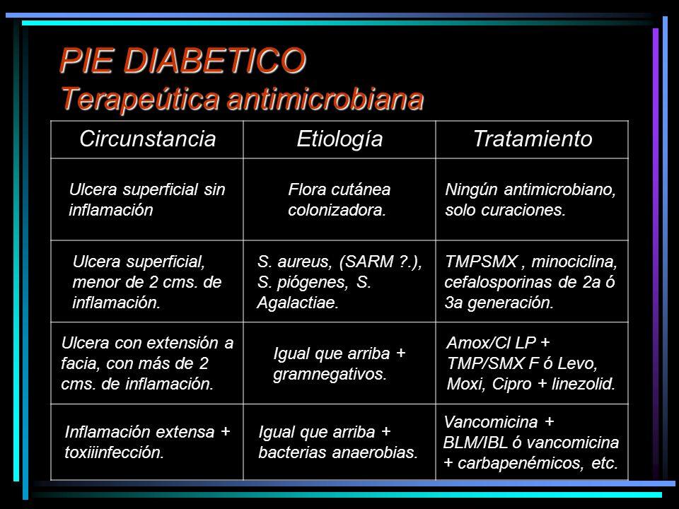 PIE DIABETICO Terapeútica antimicrobiana CircunstanciaEtiologíaTratamiento Ulcera superficial sin inflamación Flora cutánea colonizadora. Ningún antim