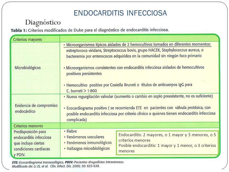 ENDOCARDITIS INFECCIOSA Diagnóstico Endocarditis: 2 mayores, o 1 mayor y 3 menores, o 5 criterios menores Posible endocarditis: 1 mayor y 1 menor, o 3
