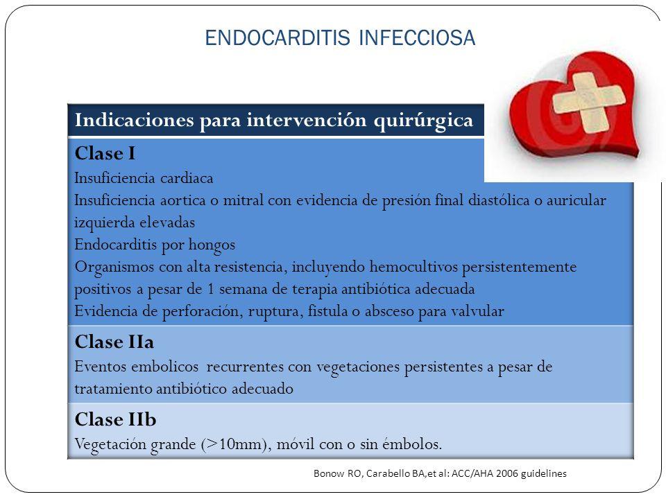 ENDOCARDITIS INFECCIOSA Bonow RO, Carabello BA,et al: ACC/AHA 2006 guidelines