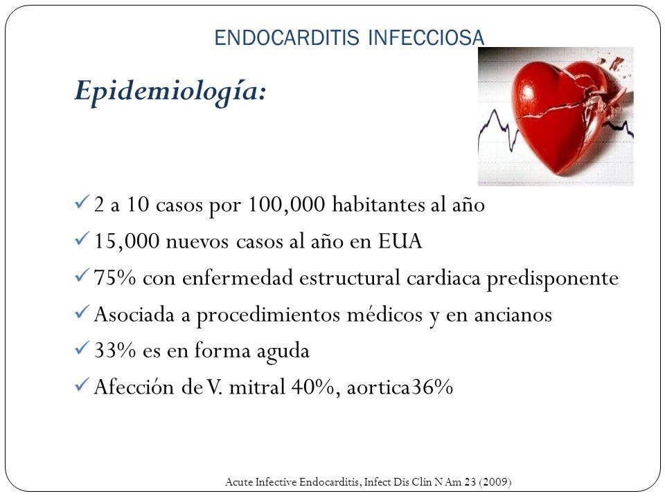 ENDOCARDITIS INFECCIOSA Epidemiología: 2 a 10 casos por 100,000 habitantes al año 15,000 nuevos casos al año en EUA 75% con enfermedad estructural car