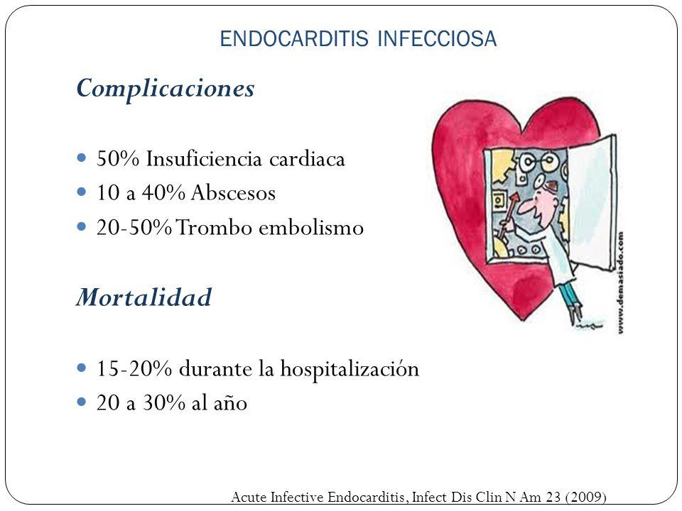 ENDOCARDITIS INFECCIOSA Complicaciones 50% Insuficiencia cardiaca 10 a 40% Abscesos 20-50% Trombo embolismo Mortalidad 15-20% durante la hospitalizaci