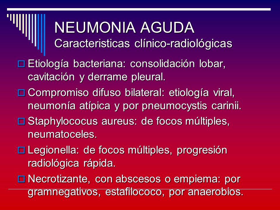 NEUMONIA AGUDA Caracteristicas clínico-radiológicas Etiología bacteriana: consolidación lobar, cavitación y derrame pleural.