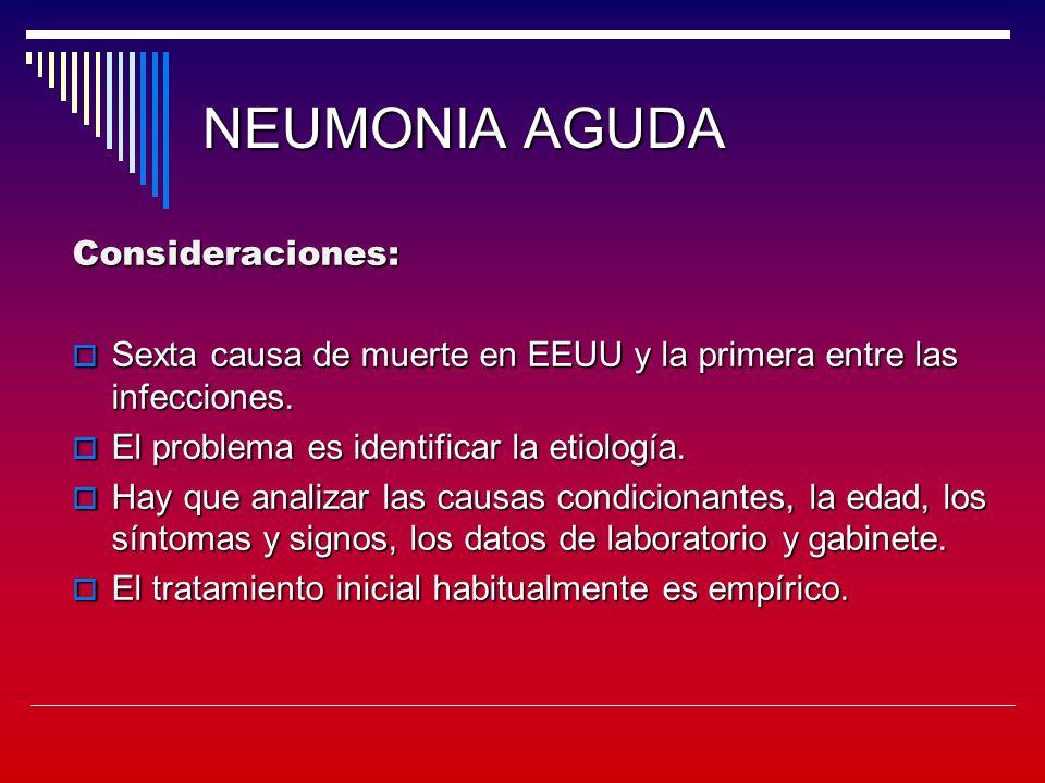 NEUMONIA AGUDA Consideraciones: Sexta causa de muerte en EEUU y la primera entre las infecciones.