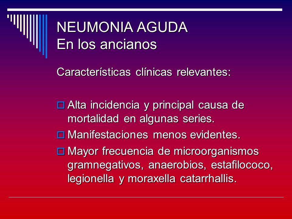 NEUMONIA AGUDA En los ancianos Características clínicas relevantes: Alta incidencia y principal causa de mortalidad en algunas series.