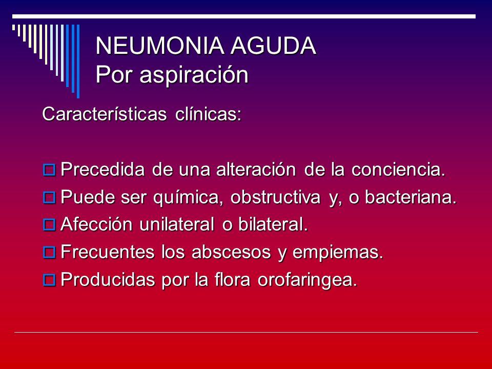NEUMONIA AGUDA Por aspiración Características clínicas: Precedida de una alteración de la conciencia.