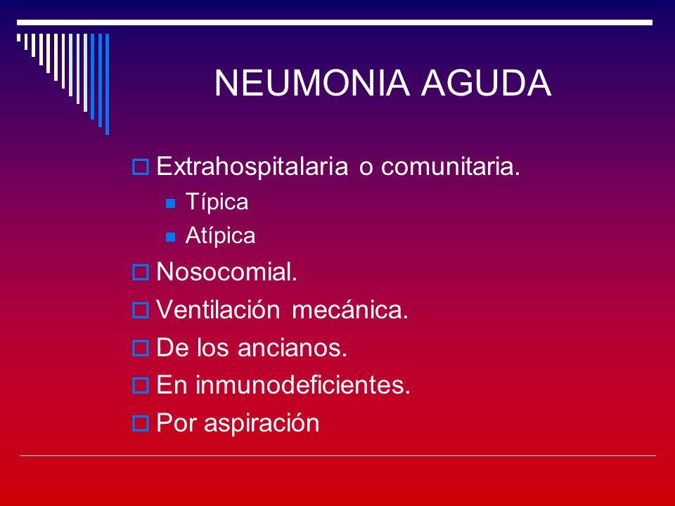 NEUMONIA AGUDA Extrahospitalaria o comunitaria.Típica Atípica Nosocomial.