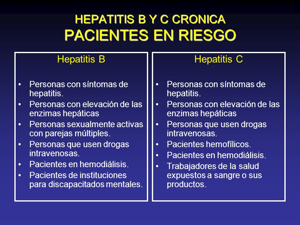 HEPATITIS B Y C CRONICA PACIENTES EN RIESGO Hepatitis B Personas con síntomas de hepatitis. Personas con elevación de las enzimas hepáticas Personas s