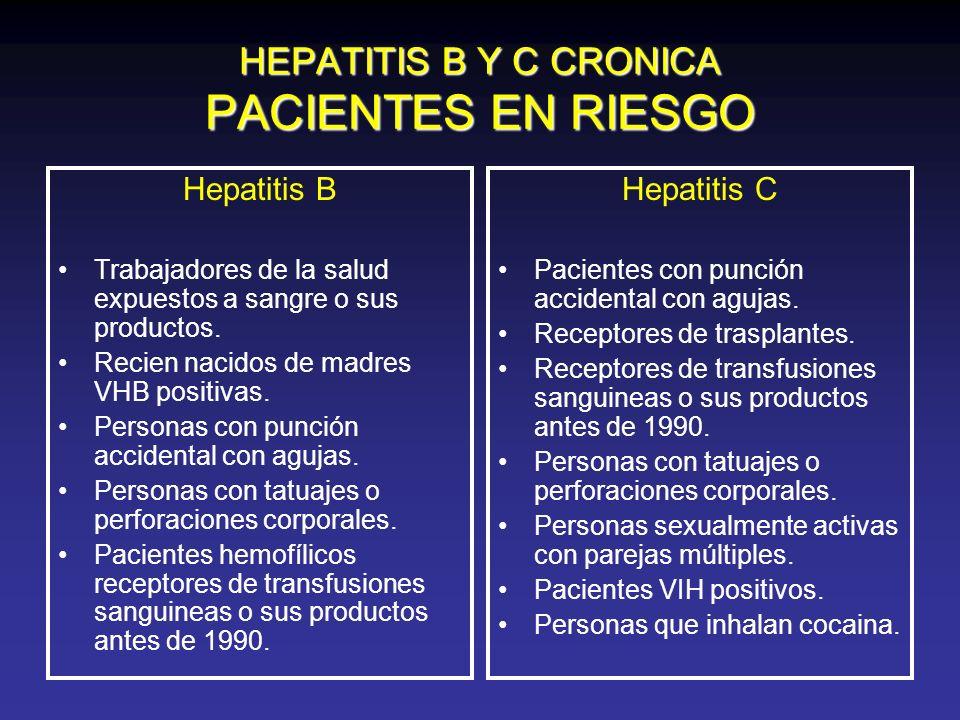 HEPATITIS B Y C CRONICA PACIENTES EN RIESGO Hepatitis B Trabajadores de la salud expuestos a sangre o sus productos. Recien nacidos de madres VHB posi