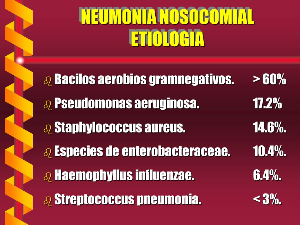 NEUMONIA NOSOCOMIAL ETIOLOGIA b Bacilos aerobios gramnegativos.