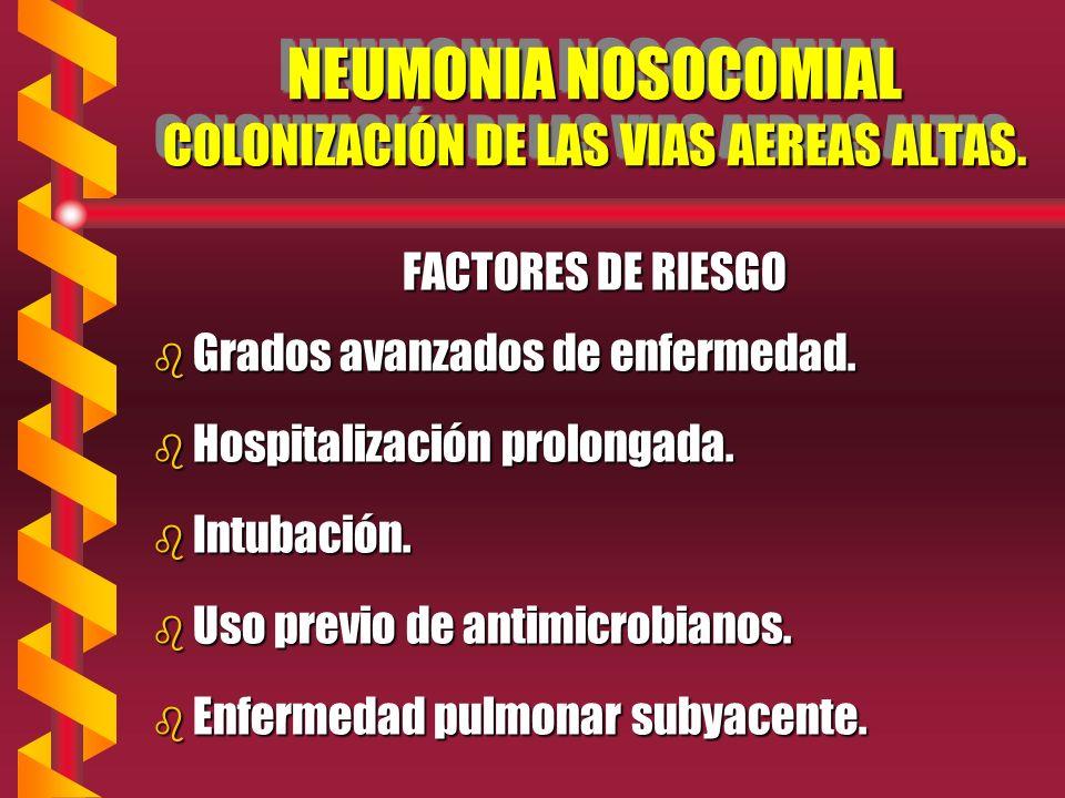 NEUMONIA NOSOCOMIAL COLONIZACIÓN DE LAS VIAS AEREAS ALTAS.