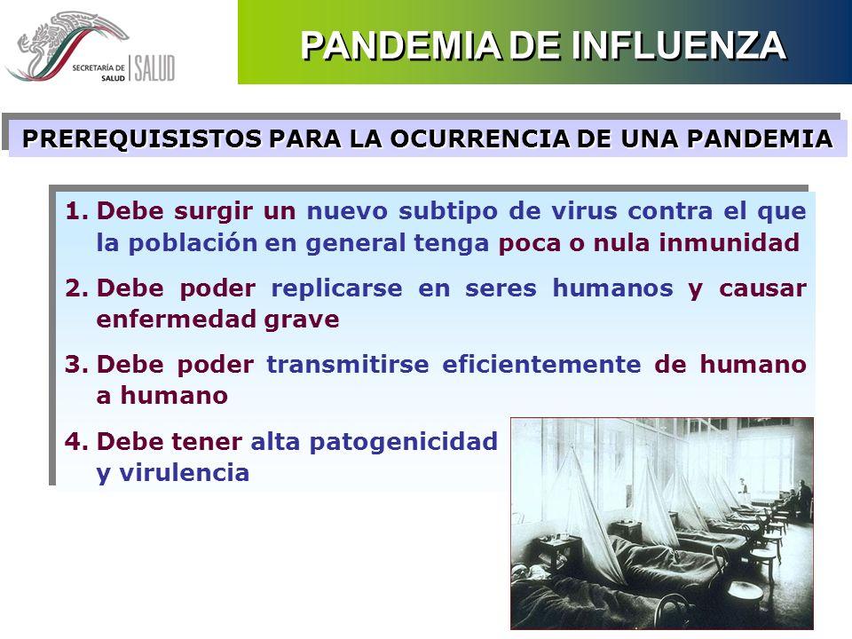 1.Debe surgir un nuevo subtipo de virus contra el que la población en general tenga poca o nula inmunidad 2.Debe poder replicarse en seres humanos y c