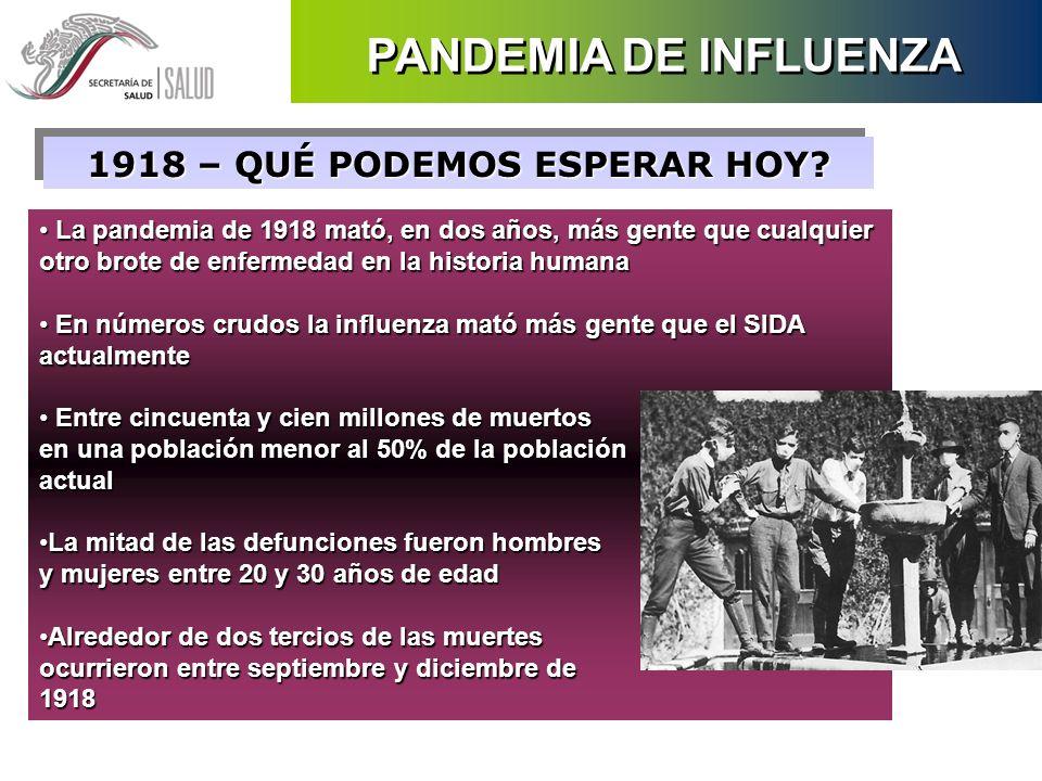 La pandemia de 1918 mató, en dos años, más gente que cualquier otro brote de enfermedad en la historia humana La pandemia de 1918 mató, en dos años, m