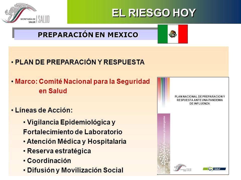 PREPARACIÓN EN MEXICO PLAN DE PREPARACIÓN Y RESPUESTA Marco: Comité Nacional para la Seguridad en Salud Líneas de Acción: Vigilancia Epidemiológica y