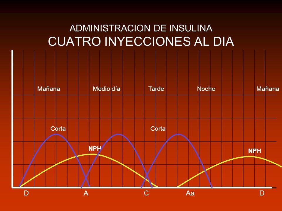 ADMINISTRACION DE INSULINA CUATRO INYECCIONES AL DIA DCAaAD MañanaMedio díaTardeNoche Corta NPH Corta Mañana