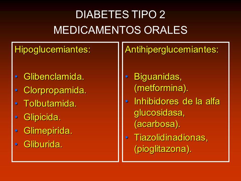 DIABETES TIPO 2 MEDICAMENTOS ORALES Hipoglucemiantes: Glibenclamida.Glibenclamida. Clorpropamida.Clorpropamida. Tolbutamida.Tolbutamida. Glipicida.Gli