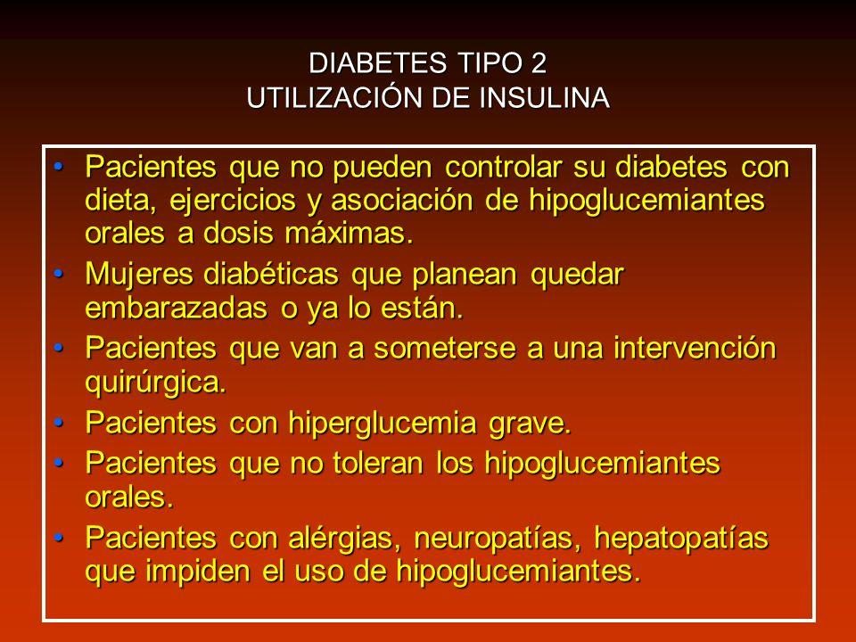 DIABETES TIPO 2 UTILIZACIÓN DE INSULINA Pacientes que no pueden controlar su diabetes con dieta, ejercicios y asociación de hipoglucemiantes orales a