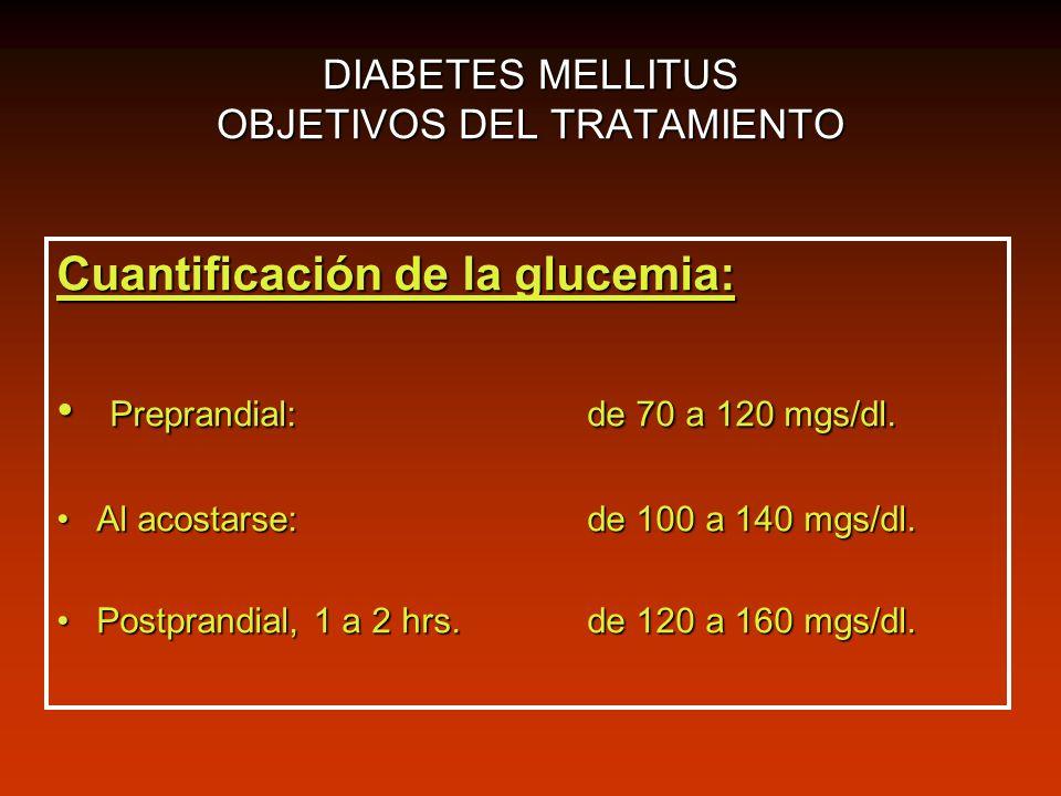 DIABETES MELLITUS OBJETIVOS DEL TRATAMIENTO Cuantificación de la glucemia: Preprandial: de 70 a 120 mgs/dl. Preprandial: de 70 a 120 mgs/dl. Al acosta
