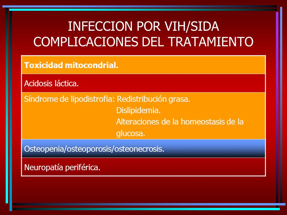 INFECCION POR VIH/SIDA COMPLICACIONES DEL TRATAMIENTO Toxicidad mitocondrial. Acidosis láctica. Síndrome de lipodistrofia: Redistribución grasa. Disli