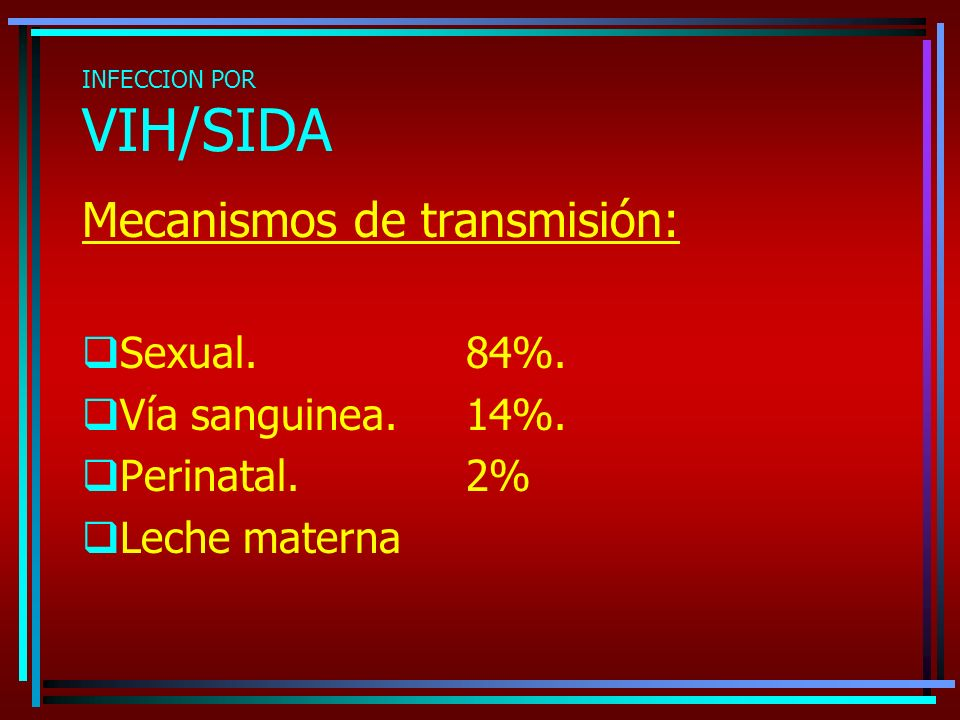 INFECCION POR VIH/SIDA Mecanismos de transmisión: Sexual.84%. Vía sanguinea.14%. Perinatal. 2% Leche materna