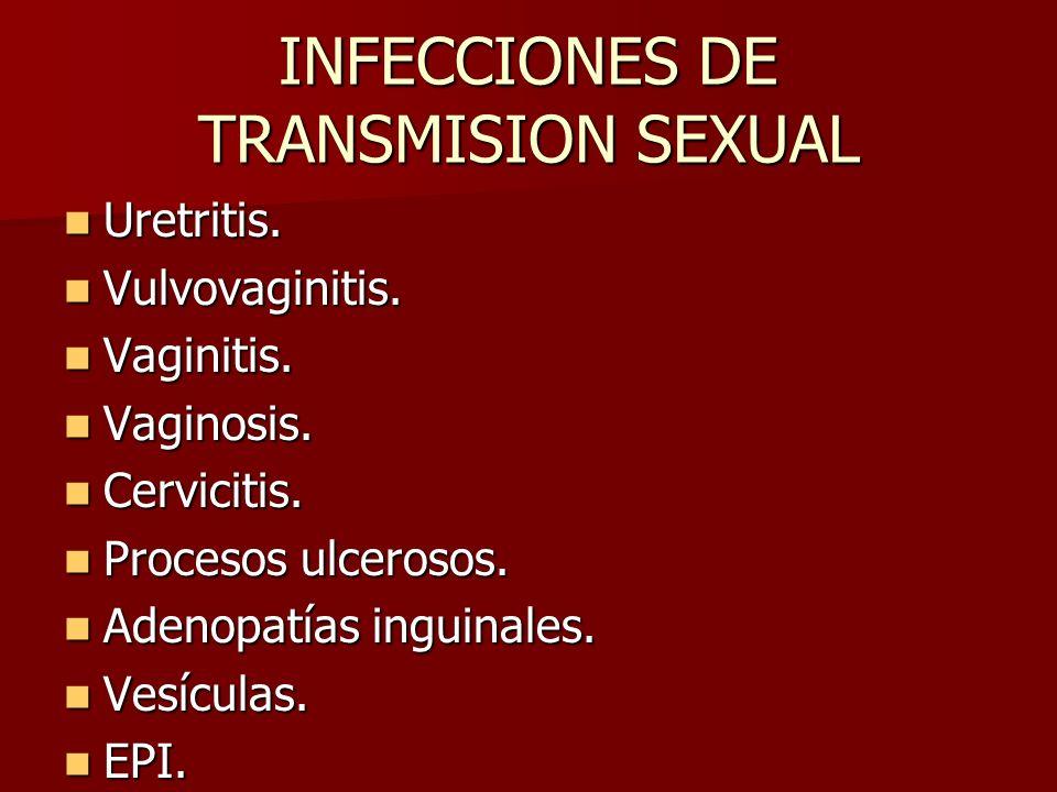 1.Candidiasis. 2. Vaginosis bacteriana. 3. Condilomatosis, (VPH).