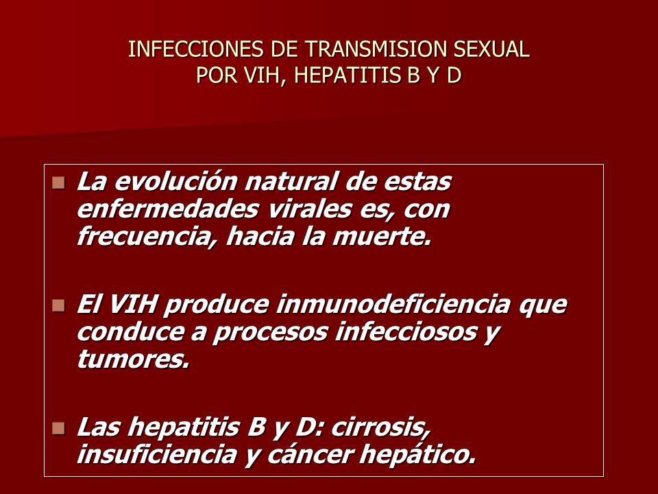 INFECCIONES DE TRANSMISION SEXUAL POR VIH, HEPATITIS B Y D La evolución natural de estas enfermedades virales es, con frecuencia, hacia la muerte.