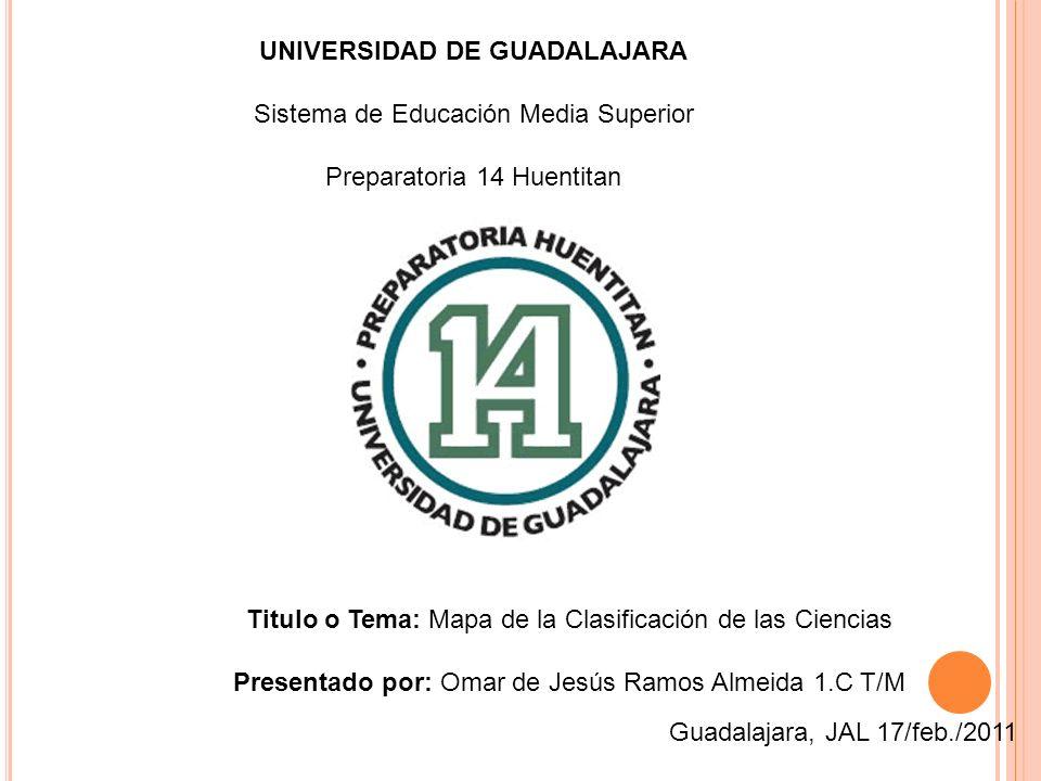 UNIVERSIDAD DE GUADALAJARA Sistema de Educación Media Superior Preparatoria 14 Huentitan Titulo o Tema: Mapa de la Clasificación de las Ciencias Prese