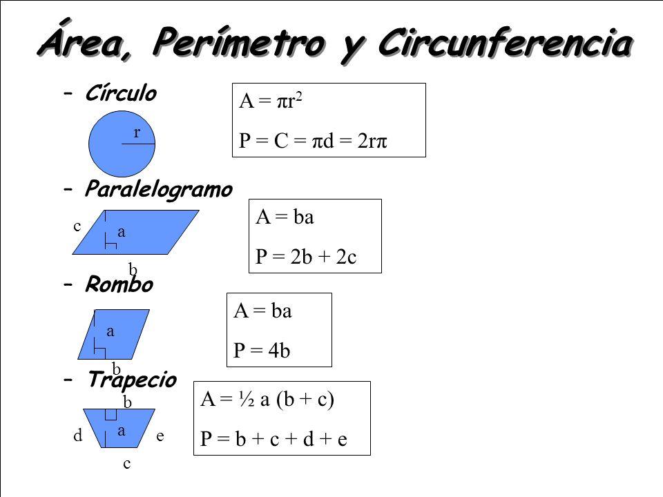 –Círculo –Paralelogramo –Rombo –Trapecio Área, Perímetro y Circunferencia A = πr 2 P = C = πd = 2rπ A = ba P = 2b + 2c A = ba P = 4b A = ½ a (b + c) P