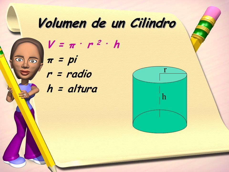 Volumen de un Cilindro V = π. r 2. h π = pi r = radio h = altura r h