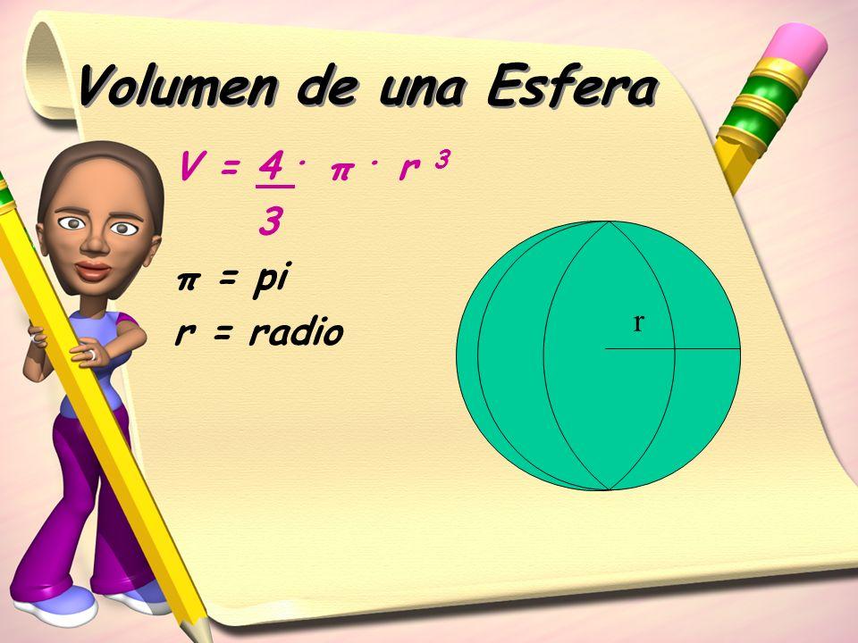 Volumen de una Esfera V = 4. π. r 3 3 π = pi r = radio r