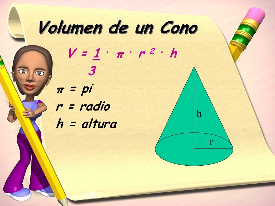 Volumen de un Cono V = 1. π. r 2. h 3 π = pi r = radio h = altura r h